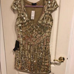 BOGO Buy 2 get one free! Gold Sequin BEBE Dress
